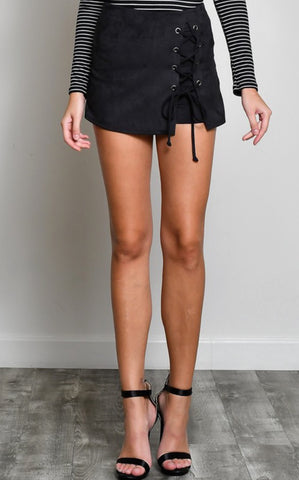 SUEDE LACE UP SKORT