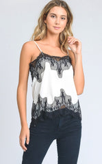 LACE SLIP TOP - WHITE