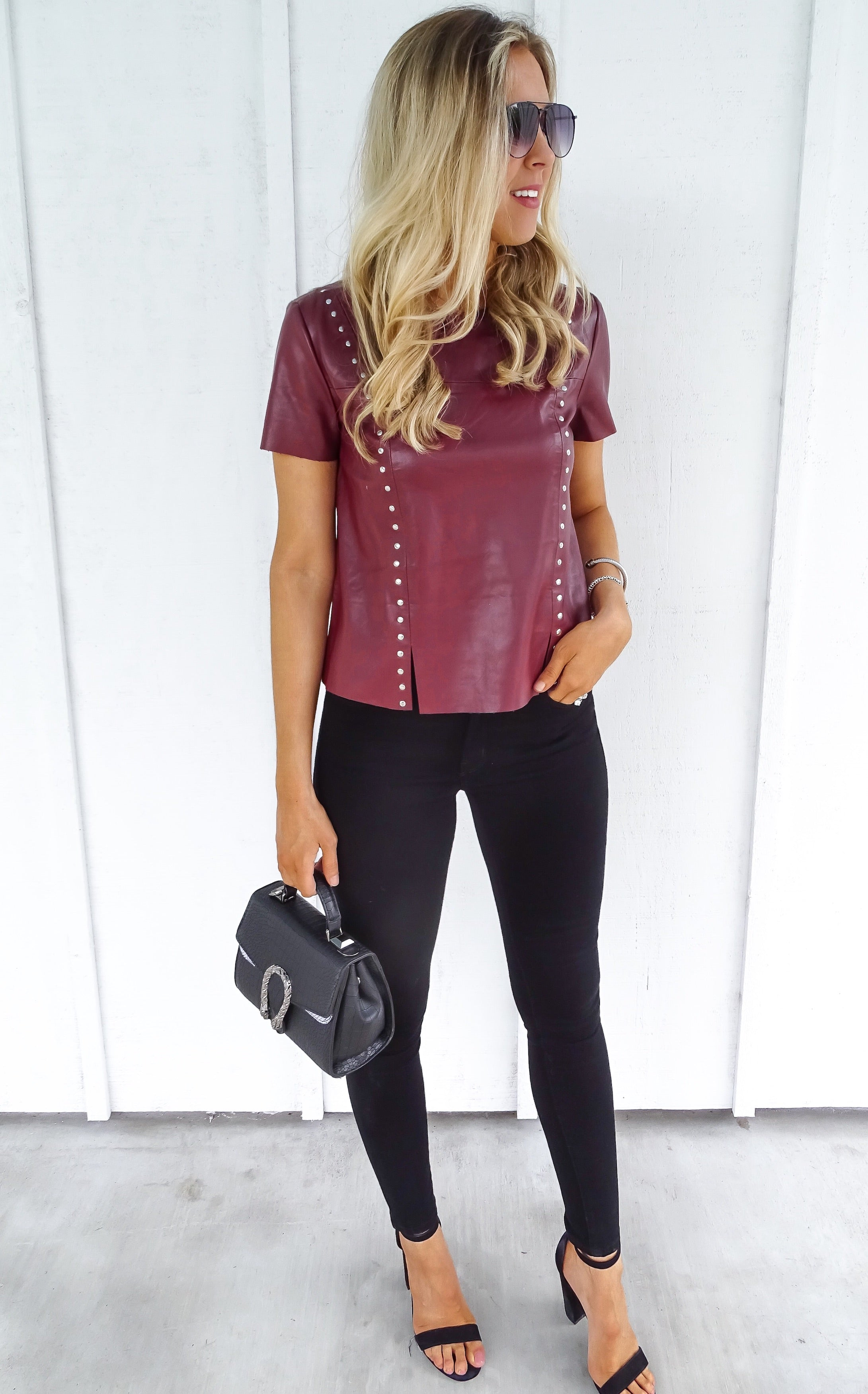 STUDDED LEATHER TOP - OX BLOOD