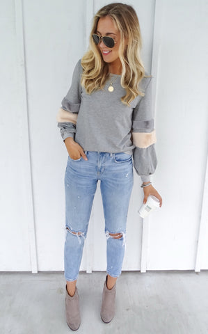 SHIELE FAUX FUR SWEATSHIRT - GREY