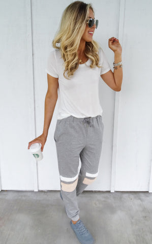SHIELE FAUX FUR JOGGERS - GREY