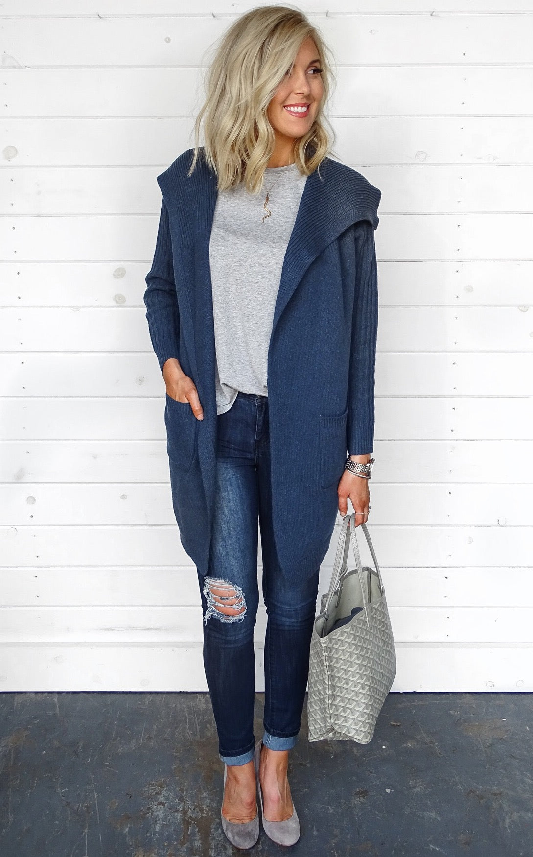 RIBBED KNIT CARDIGAN - OCEAN