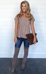 SUEDE CHOKER TOP - TAUPE