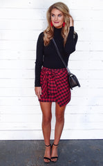 TEAGAN PLAID WRAP SKIRT