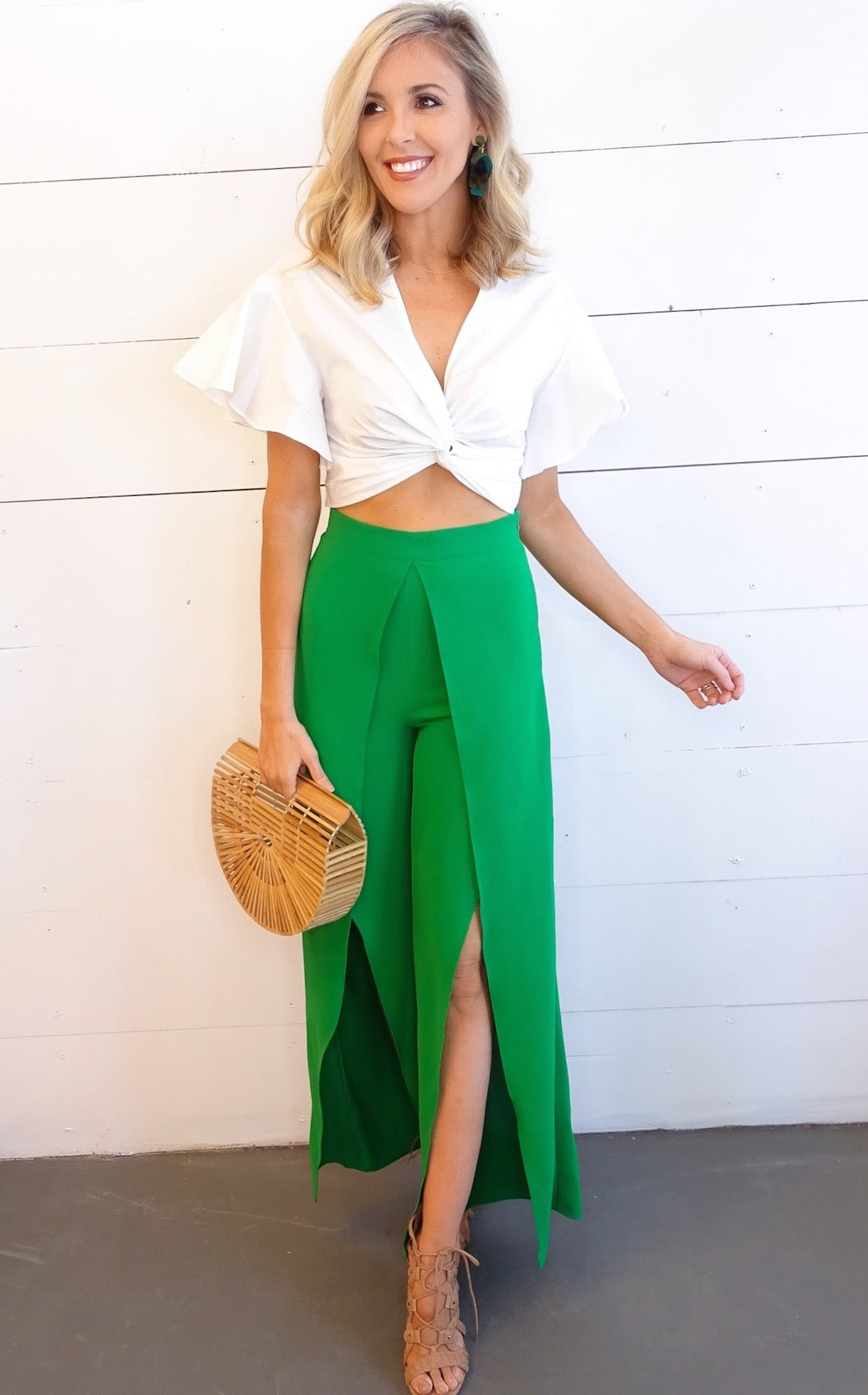 JORDIE SPLIT PANTS - KELLY GREEN