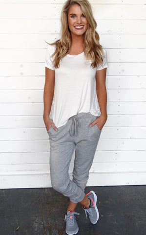 LAZY DAY JOGGERS - HEATHER GREY