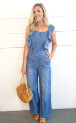 ARIANA LACE BACK DENIM JUMPSUIT