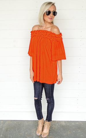 OFF THE SHOULDER TUNIC - ORANGE