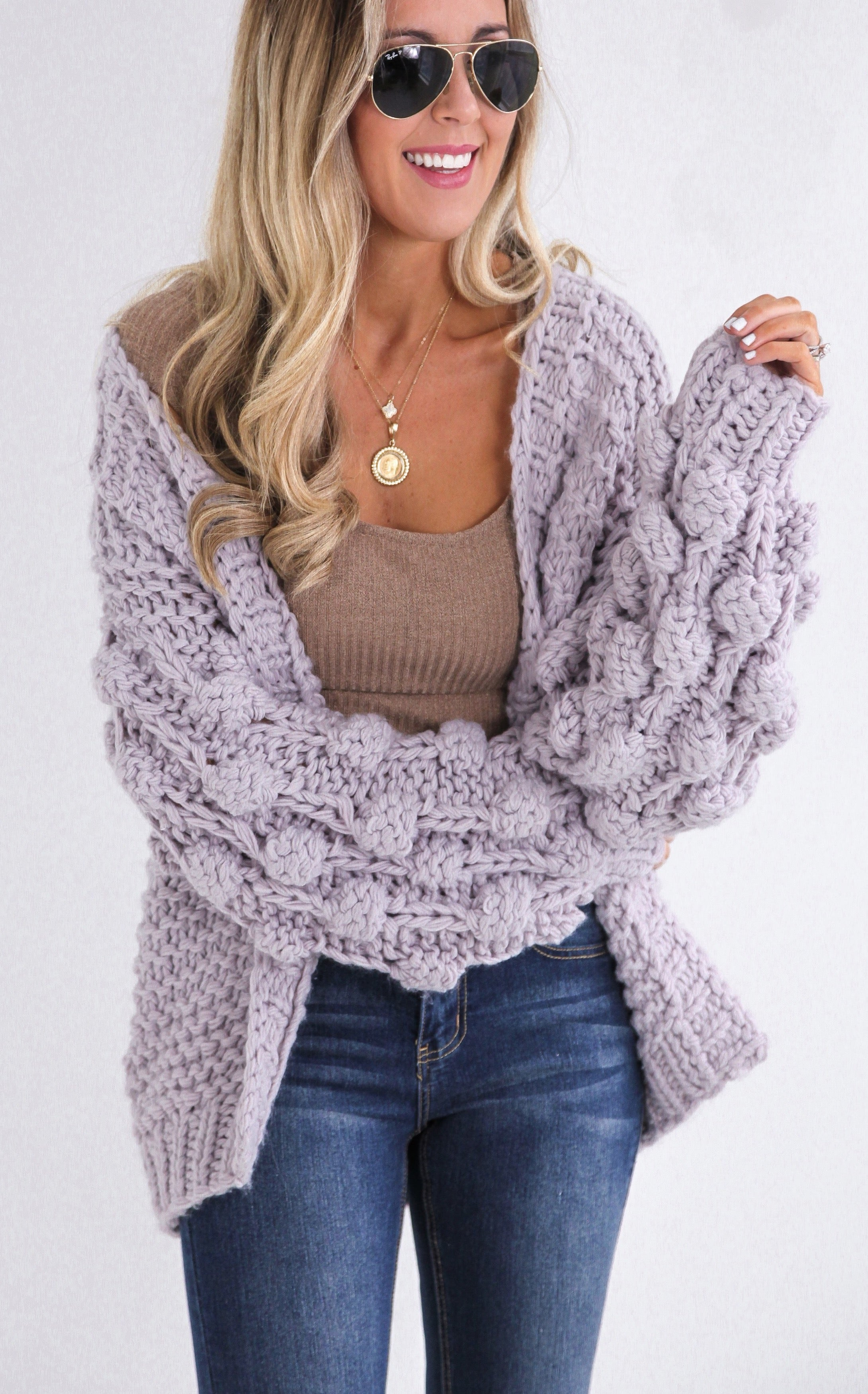 HAND KNIT SWEATER - LILAC
