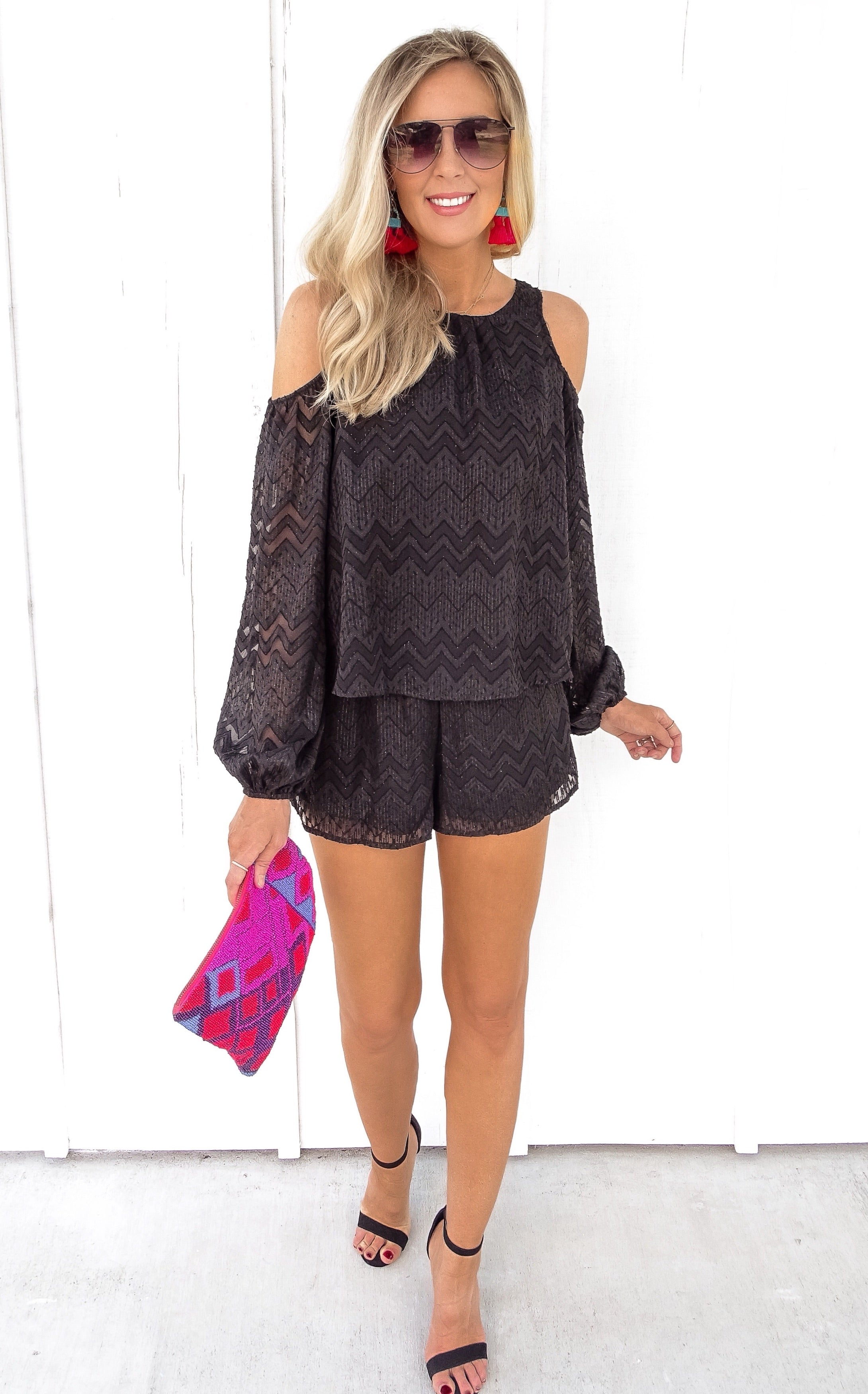 ROUJE COLD SHOULDER ROMPER