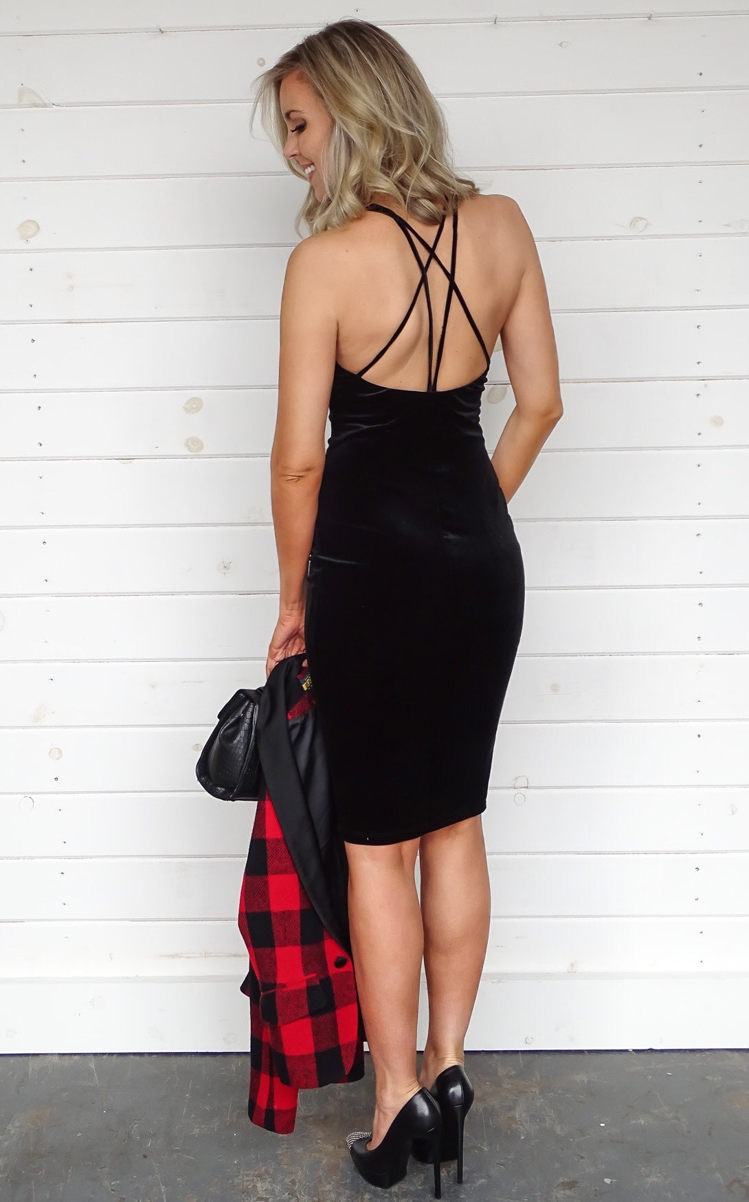 CROSS BACK VELVET DRESS