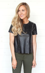 STUDDED LEATHER TOP - BLACK
