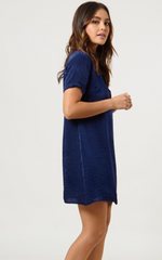 SATIN POCKET DRESS - NAVY