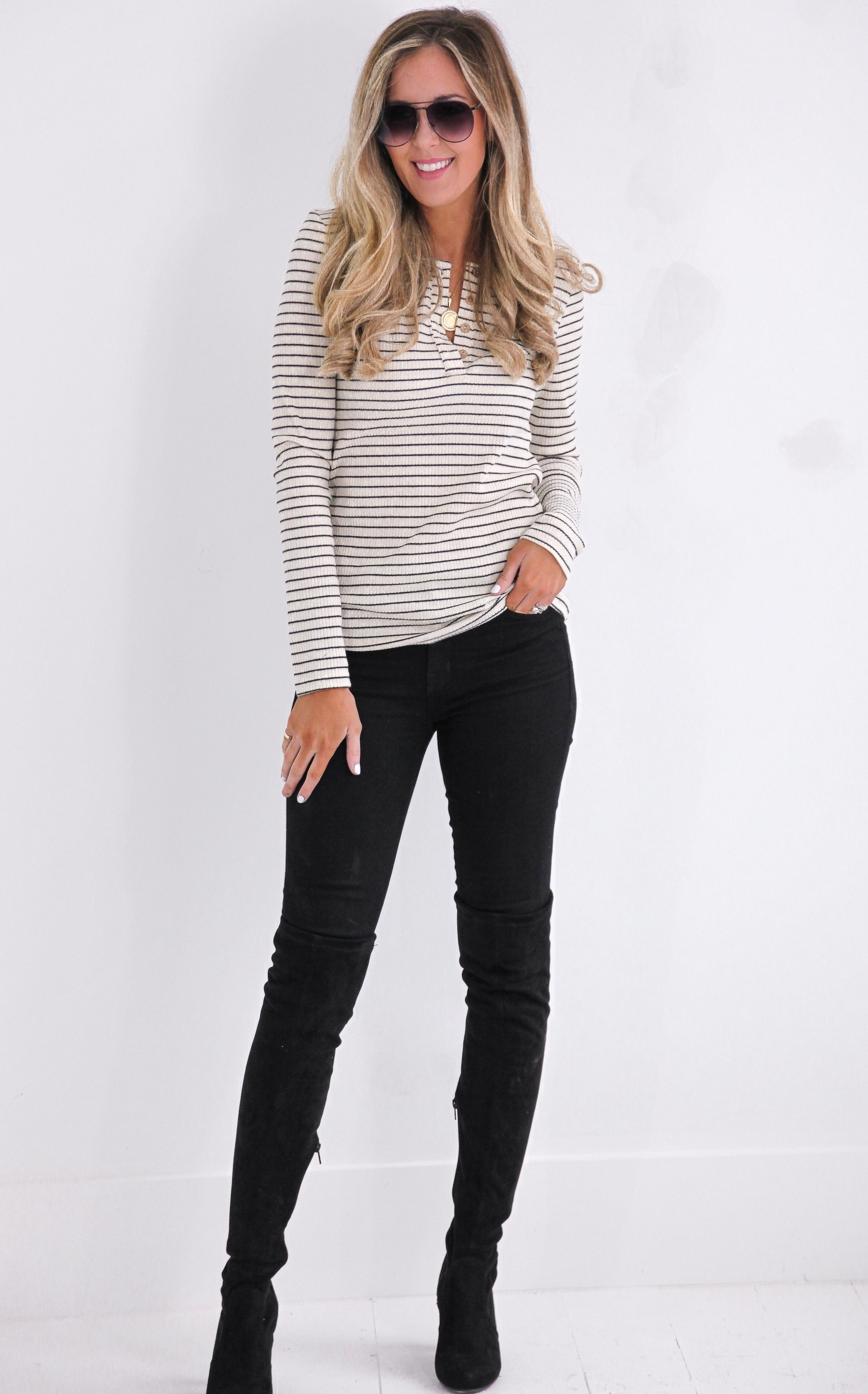 PIN STRIPE HENLEY