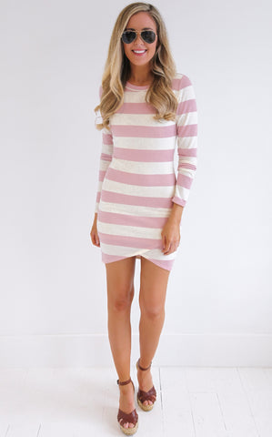 ORCHID STRIPE DRESS - PINK