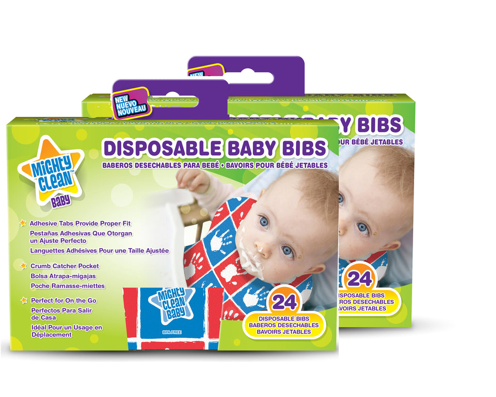 Mighty Clean Disposable Baby Bibs (2 Cnt, 48 Bibs)