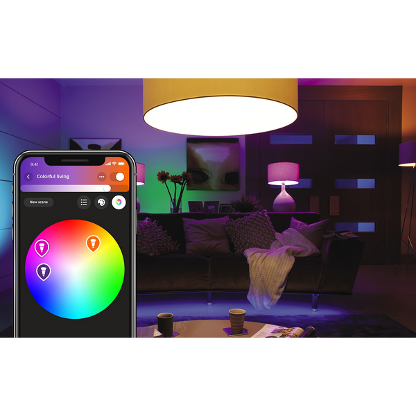 A19 HUE 9.5W WHITE AND COLOR AMBIANCE SMART WIRELESS LIGHTING STARTER KIT image 12090609074273