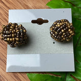 Brown Bead Ball Stud Earrings