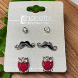 3 Pairs of Cute Stud Earrings