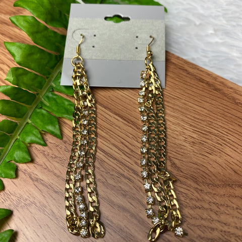 Long Gold Chain Earrings