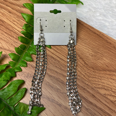 Long Silver Chain Earrings