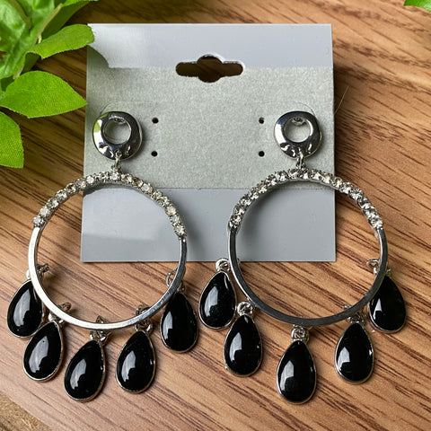 Silver and Black Circle Earrings