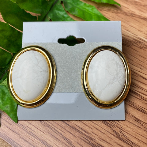 Large Vintage Marble Style Stud Earrings