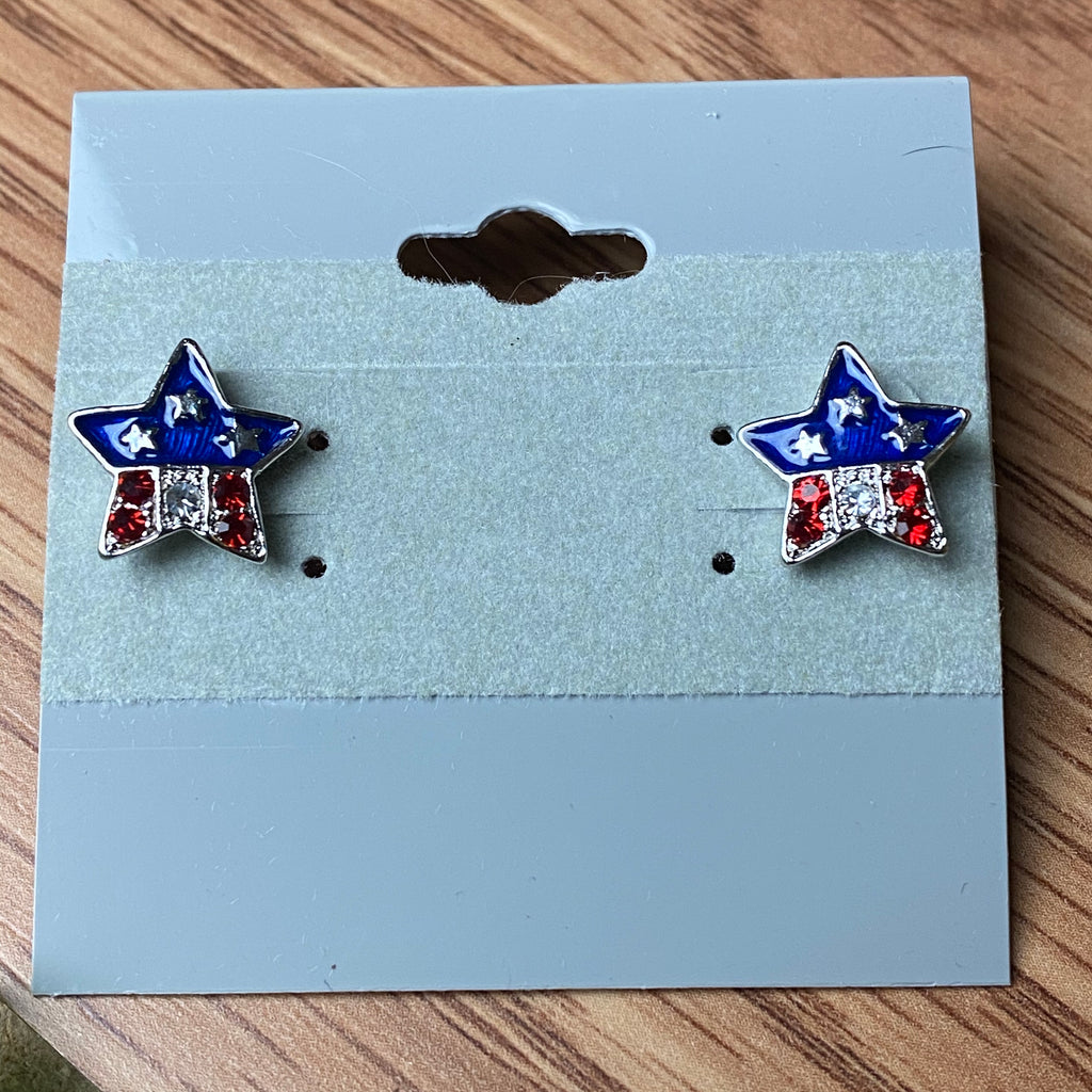 Red and Blue Star Stud Earrings