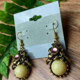 Beautiful Cream and Gold Dangle Earrings