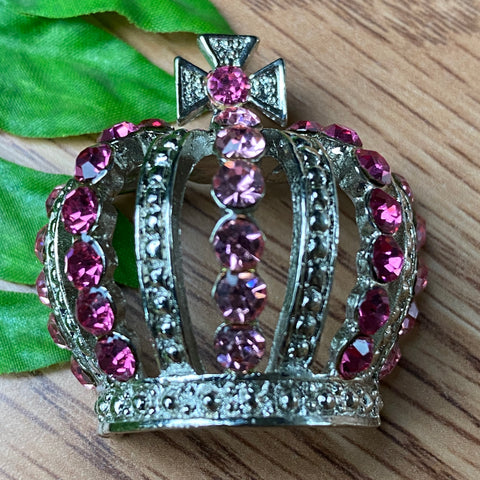 Sparkle pInk and Silver Crown Charm