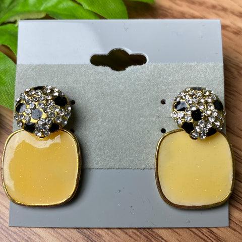 Yellow Sparkle Stud Earrings