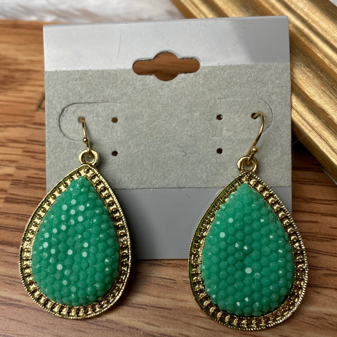 Mint Tear Drop Earrings