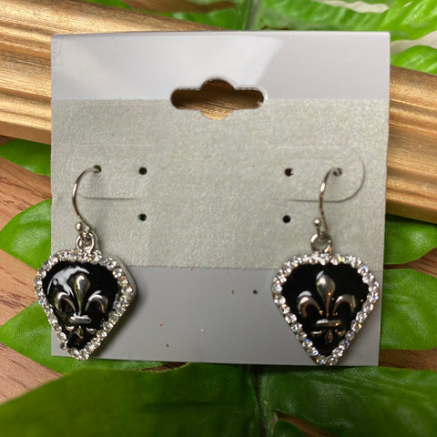 De Fleur Lis Black and Silver Earrings