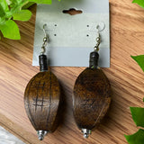 Long Brown Wood Earrings