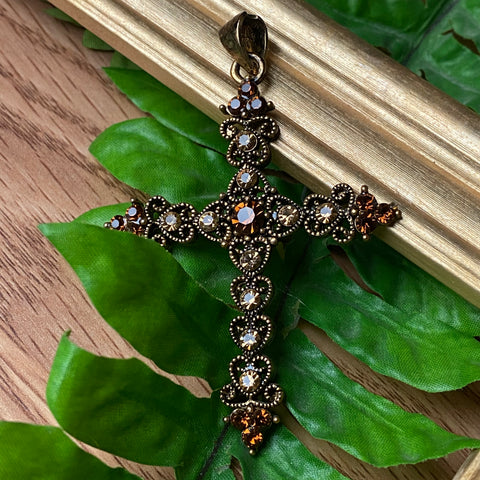 Brown Sparkle Cross Charm