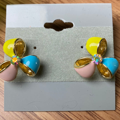 Fun Pastel Ribbon Style Stud Earrings