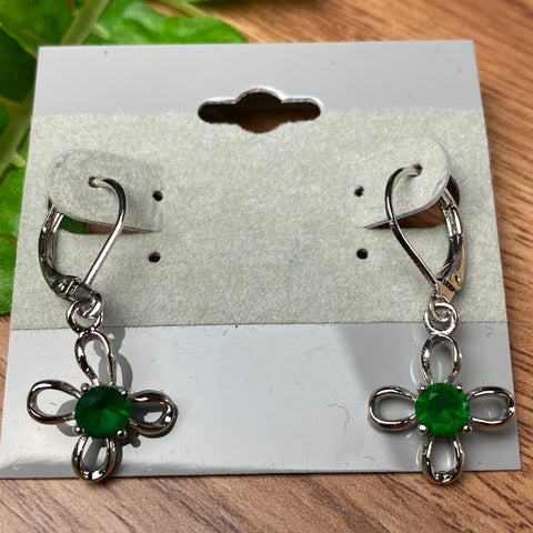 Sweet Silver and Green Flower Earrings