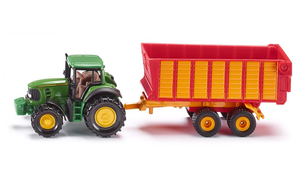 Siku John Deere Tractor with Silage Trailer Scale 1:87