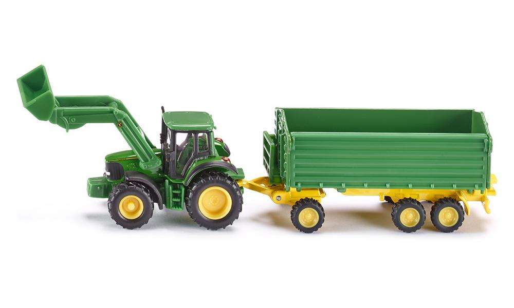 Siku John Deere with front loader and trailer 1:87