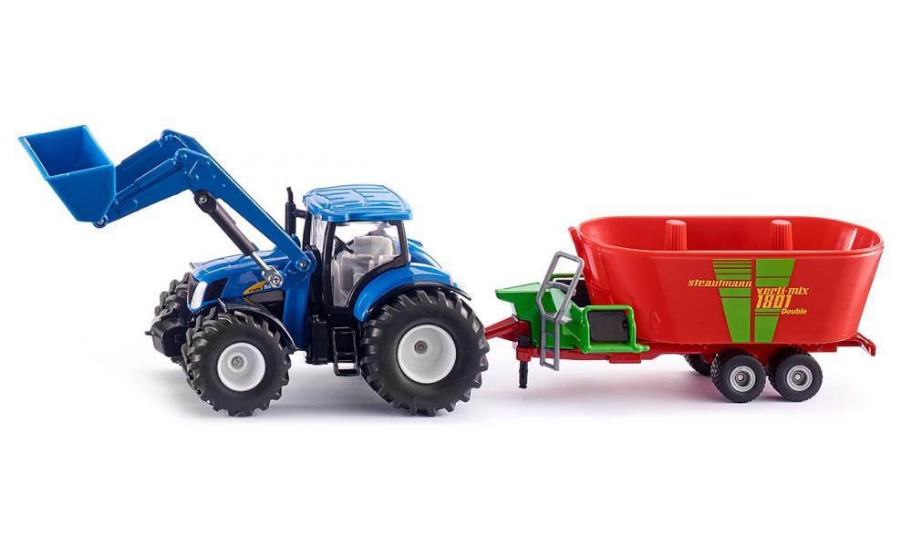 Products Siku New Holland with Front Loader and Strautmann Fodder Mixer