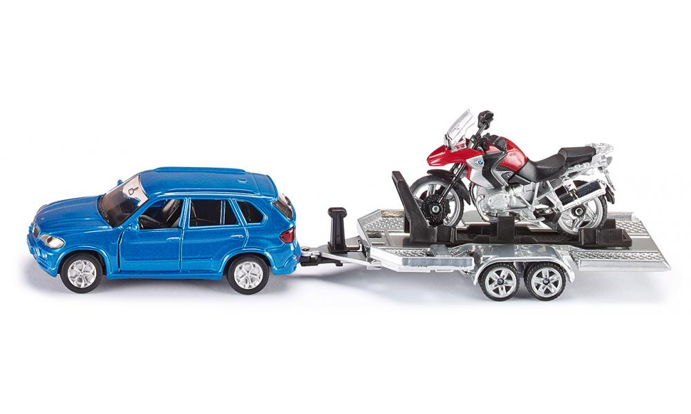 Siku BMW Car with trailer & BMW R1200 GS motorbike Scale 1:55