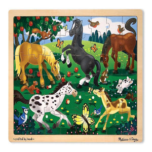 Melissa & Doug Wooden Jigsaw Puzzles - Frolicking Horses (48 pc)