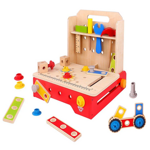 TookyToy Portable Mini Wooden Toy Foldable Work Bench