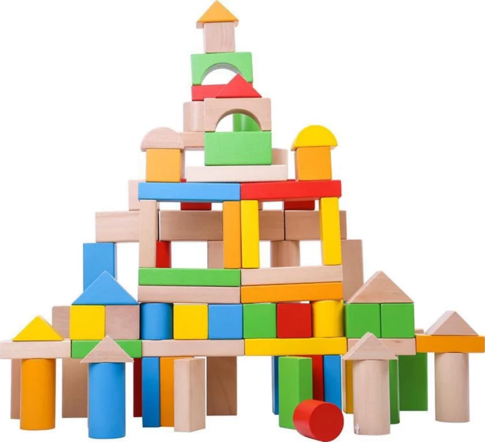 TookyToy 100 Pce Educational Wooden Building Blocks Set