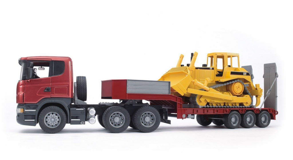 Bruder SCANIA R-Series Low Loader Truck With CAT Bulldozer