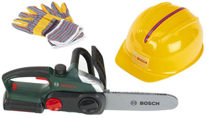 Klein Bosch Helmet, Work Gloves & Chain Saw with sound