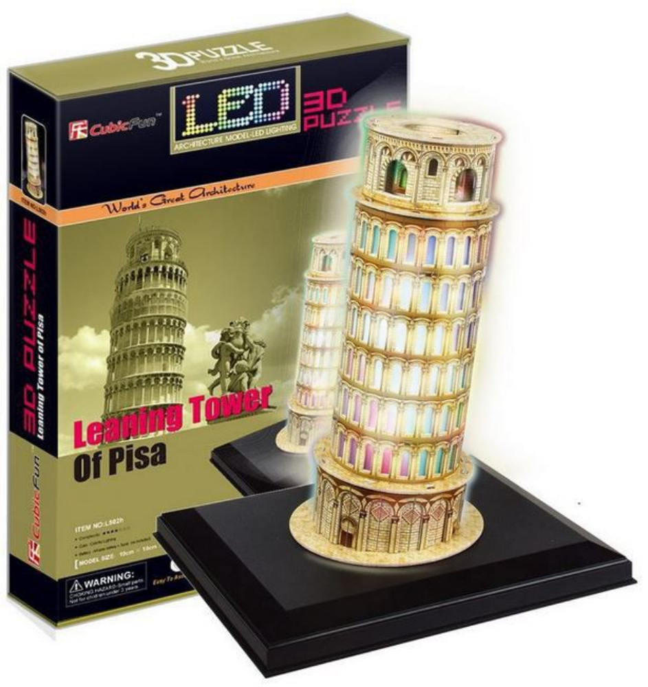 CubicFun Pisa Tower (Italy) 15pc 3D Puzzle With Base & LED Unit