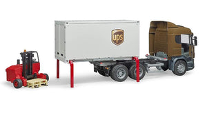 Bruder Scania R-Series UPS Logistics Truck With Forklift