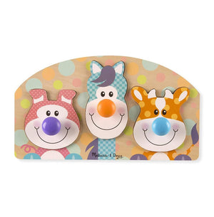 Melissa & Doug First Play Wooden Jumbo Knob Farm Animal Puzzle