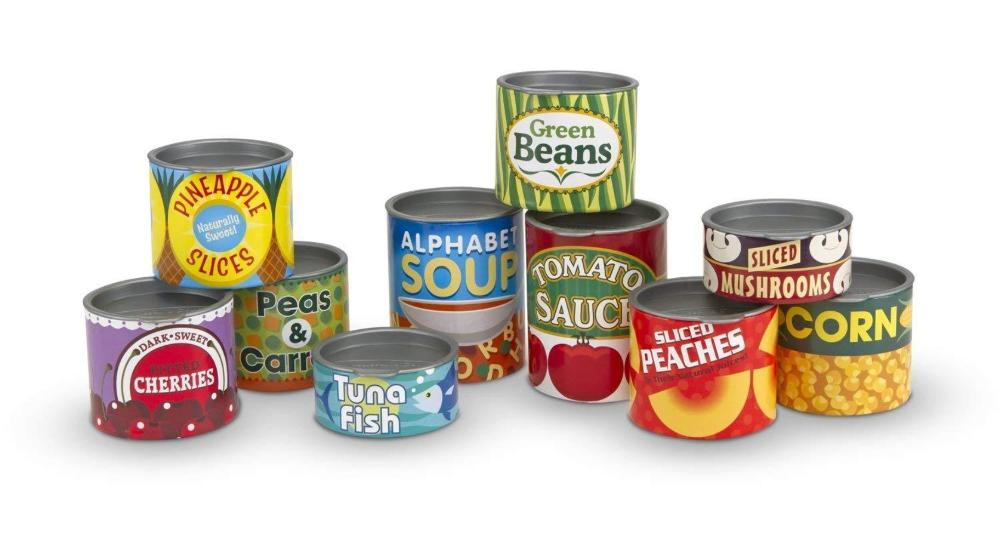 Melissa & Doug Grocery Cans - 10 Stackable Cans With Removable Lids